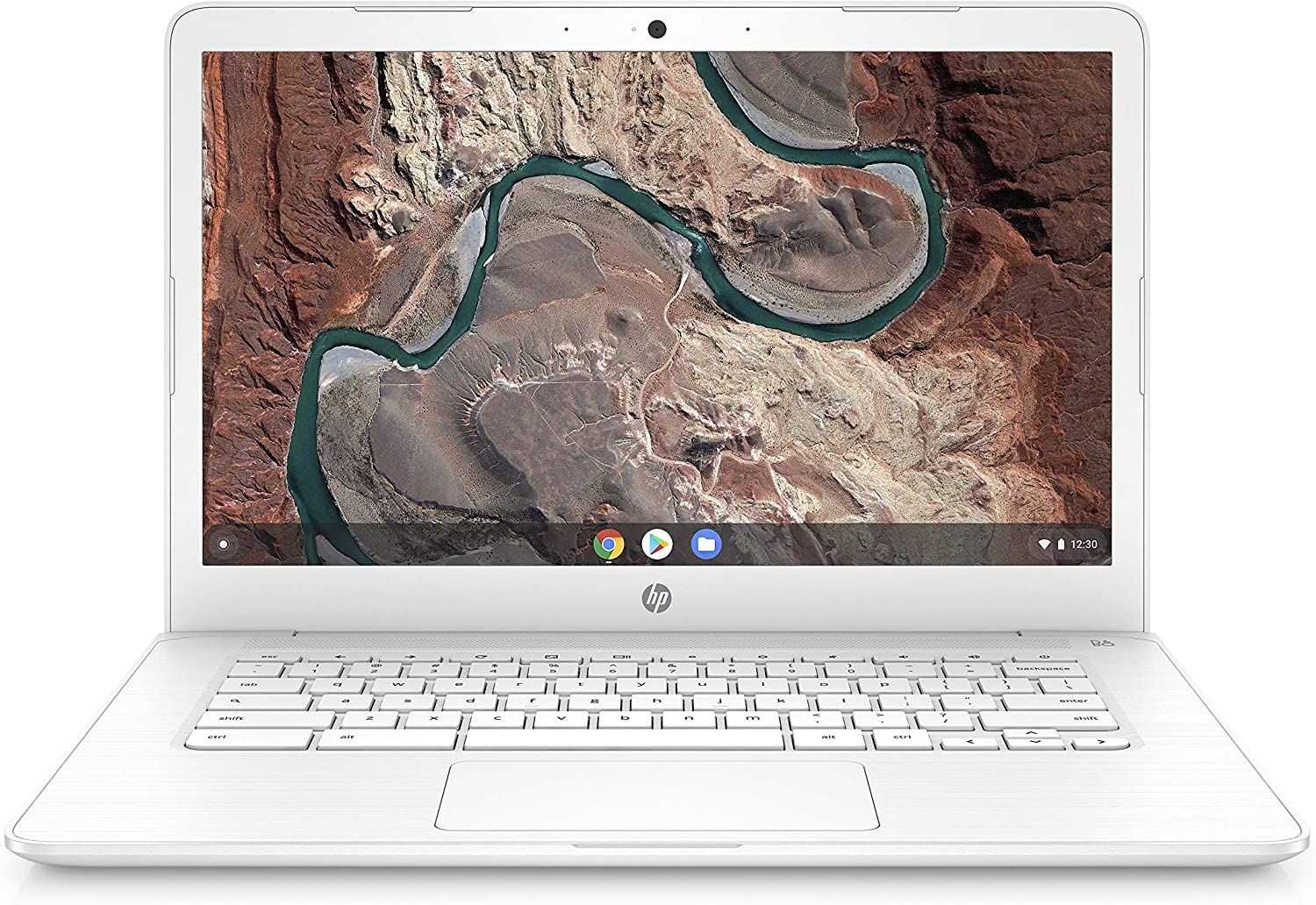HP Chromebook 14-inch Laptop with 180-Degree Hinge, AMD Dual-Core A4-9120 Processor, 4 GB SDRAM, 32 GB eMMC Storage, Chrome OS (14-db0030nr, Snow White) (Renewed)