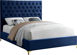 Meridian Furniture Cruz Collection Modern | Contemporary Velvet Upholstered Bed with Deep Button Tufting and Complete Sets of Gold and Chrome Legs Included, Queen, Navy
