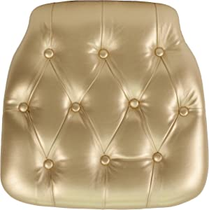 Flash Furniture Hard Gold Tufted Vinyl Chiavari Chair Cushion