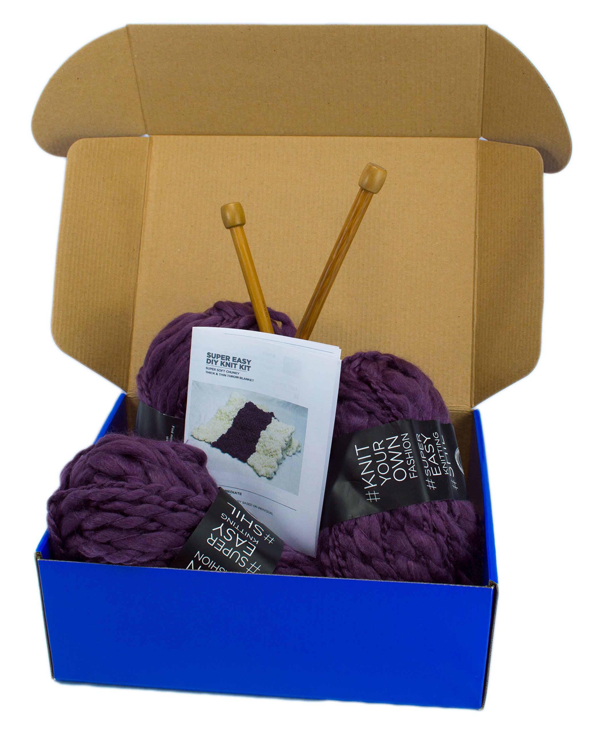 DIY Knitting Blanket Kit Super Soft Thick and Thin Bulky Yarn US 15 Needles (Dark Purple)