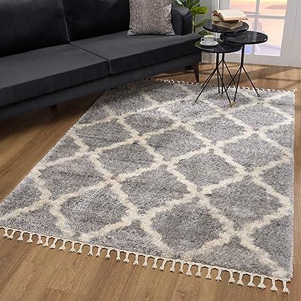 SANAT Wohnzimmer Teppich Rauten Design - Hochflor Tepiche für Wohnzimmer,  Schlafzimmer, Küche - Shaggy Teppich Grau, Größe: 10x10 cm
