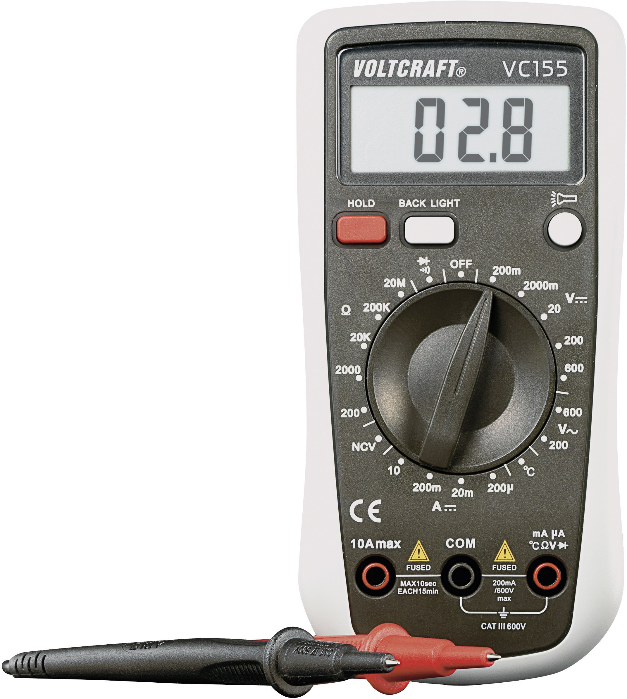 Voltcraft Digital Hand-held Multimeter, Model: VC155, 2000 counts, AC/DC, Reading Category CAT III 600V, 0.5% Basic Accuracy, Manual Range with Hold Function, Torch, Back Light Function