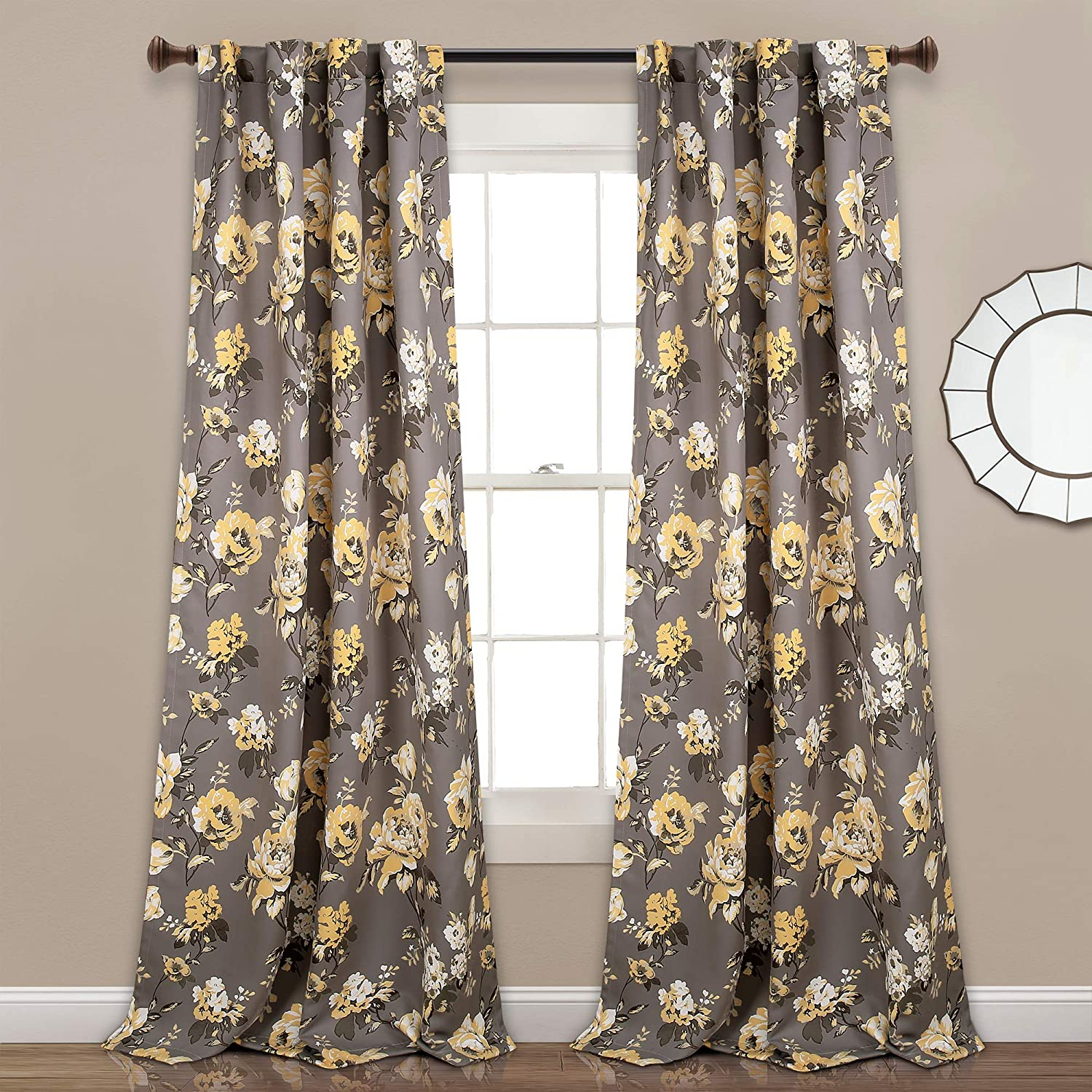 """Lush Decor, Gray and Yellow Tania Curtains 