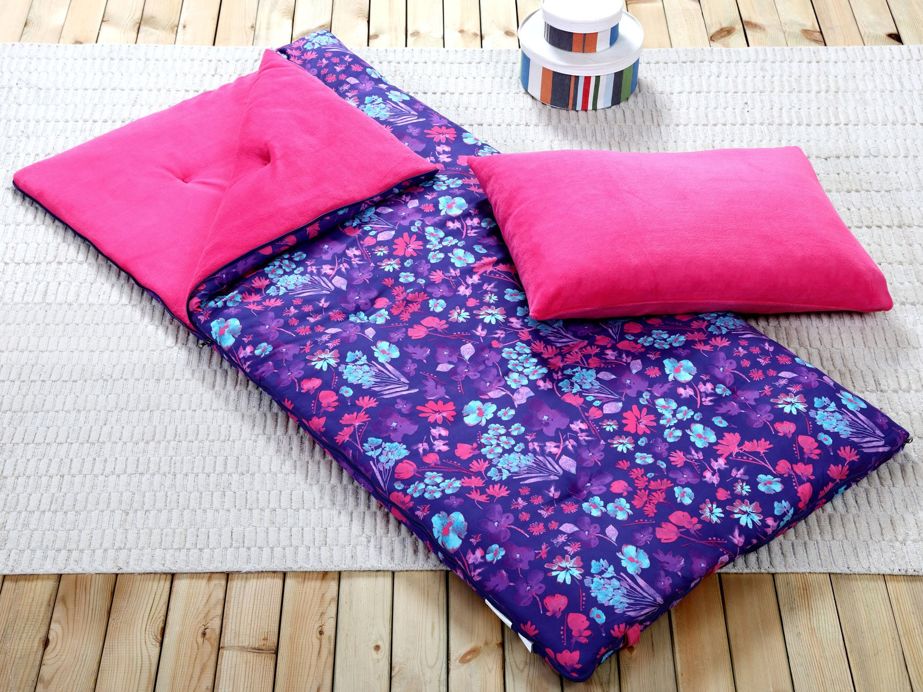 HowPlumb Sleeping Bag and Pillow Cover, Purple Pink Teal Floral Indoor Outdoor Camping Youth Girls by HowPlumb