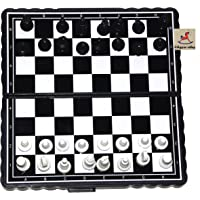 Vibgyor Vibes Folding Pocket Magnetic Chess Board Black and White 5 inch