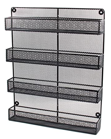 Charming ESYLIFE 4 Tier Large Wall Mounted Wire Spice Rack Organizer, Black
