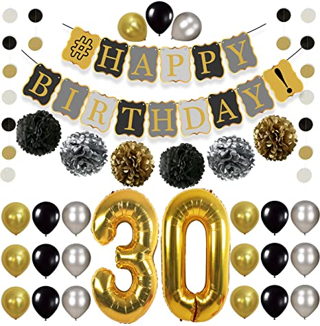 30th Birthday Balloons Decorations Supplies Large Pack Of 49