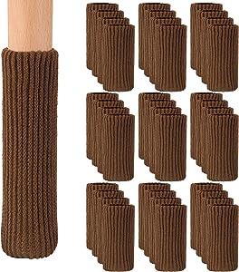 Lamoutor 36PCS Furniture Leg Socks Covers Furniture Booties Set High Elastic Furniture Leg Feet Socks Covers Furniture Caps Set for Chair Leg Floor Protectors (Brown)