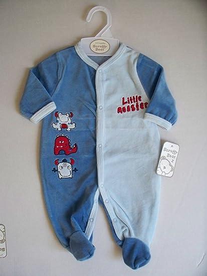 Diseño de monstruo poco Bañador para bebé de terciopelo de Pelele para bebé infantil color azul