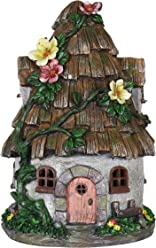 Exhart Gardening Gifts – Shingled Roof Fairy House – Whimsical Garden Statues w/Solar Garden Lights, Outdoor Use, Fairy Themed Garden Décor, Weather Resistant Resin Statues