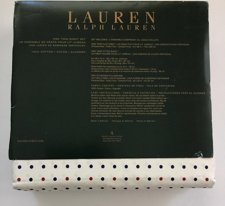 Amazon.com: RALPH LAUREN Lauren 3pc Cotton TWIN Sheet Set, Small Red Blue Dots: Home & Kitchen