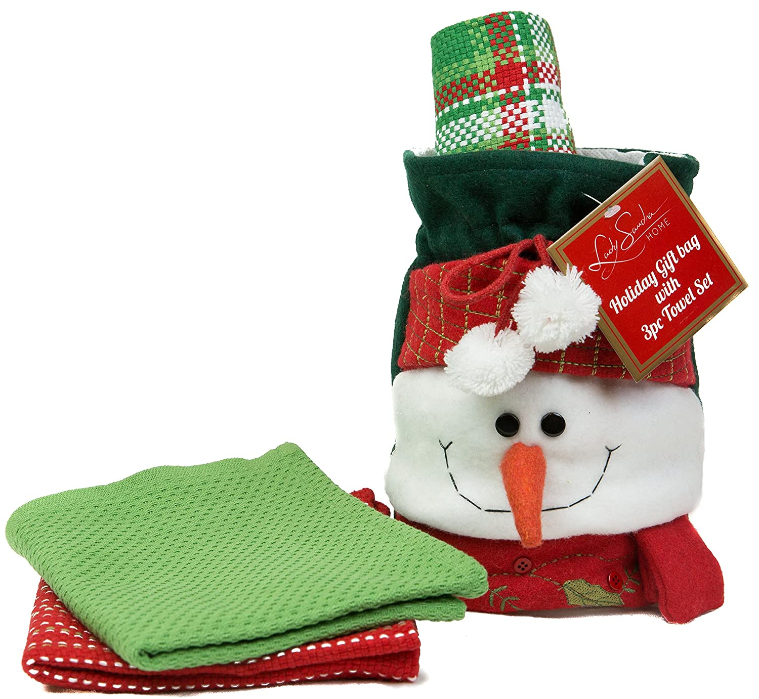 Holiday Snowman Hand Towels And Holder Gift Bag Set