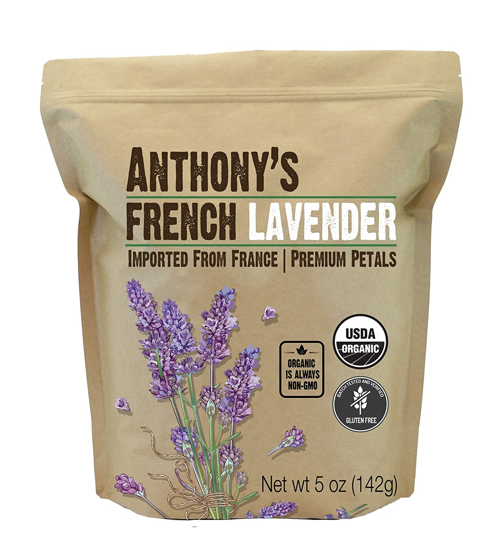 Anthony's Organic French Lavender Petals, 5 oz, Extra Grade, Dried, Gluten Free & Non GMO