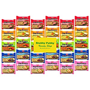 Nissin Top Ramen Instant Noodles - Care Package - Variety Snack Box - Sampler Assortment 5 Flavors (30 Count)