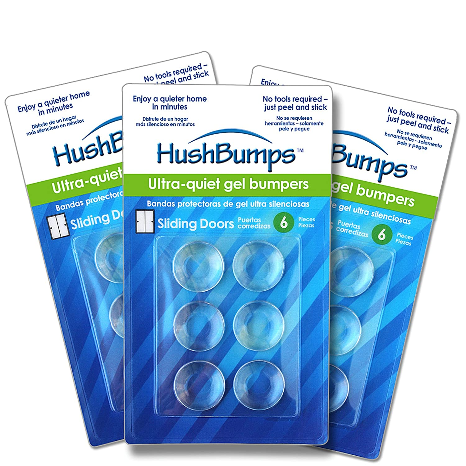 HushBumps Ultra-Quiet Bumpers 3-Pack for Sliding Doors and Pocket ...