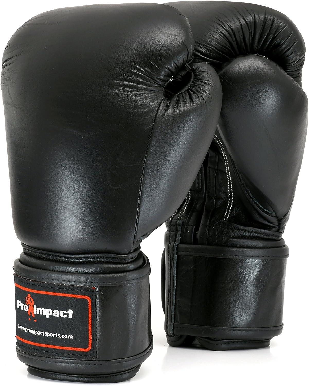 Pro Impact本革ボクシンググローブブラック16オンス( $ 80値)