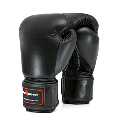 Pro Impact Genuine Leather Boxing Gloves Black - Durable Knuckle Protection  w Wrist Support for Boxing MMA Muay Thai or Fighting Sports  Training Sparring ... 9d19b9b4d3064