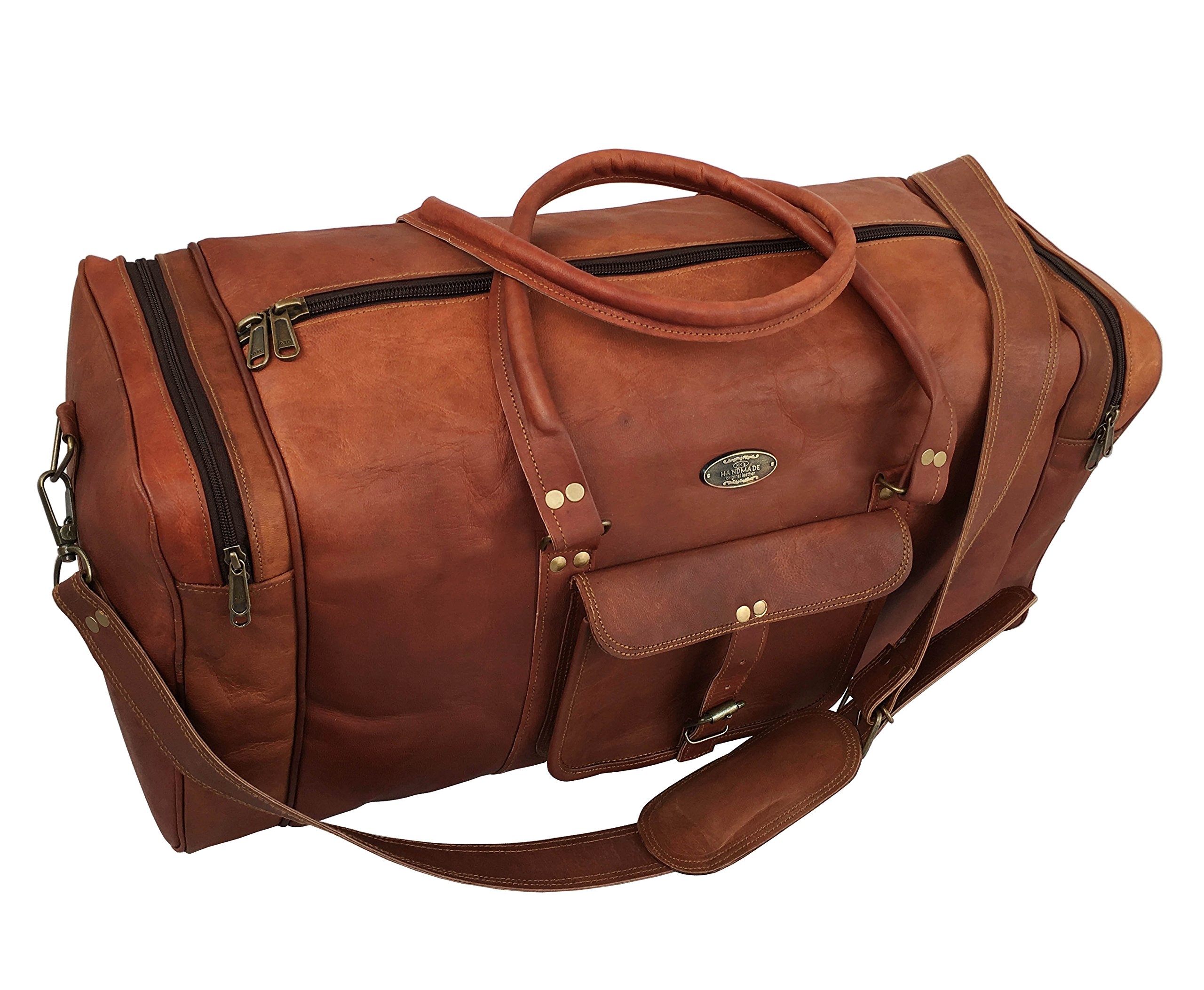 KK's 25'' Inch Leather Duffel Leather Luggage Holdall Overnight Gym Bags for men