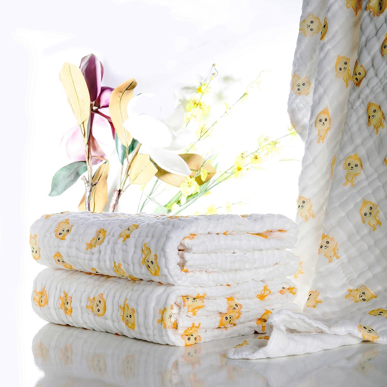 Lucear Asciugamano da Bagno di Cotone Mussolino per Il Bambino Neonato, giallo