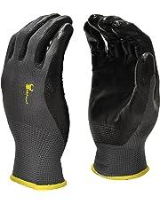 G & F 1519 Seamless Knit Nylon Nitrile Form Coated Work Gloves, Black, Size Medium, 6 Pair Pack
