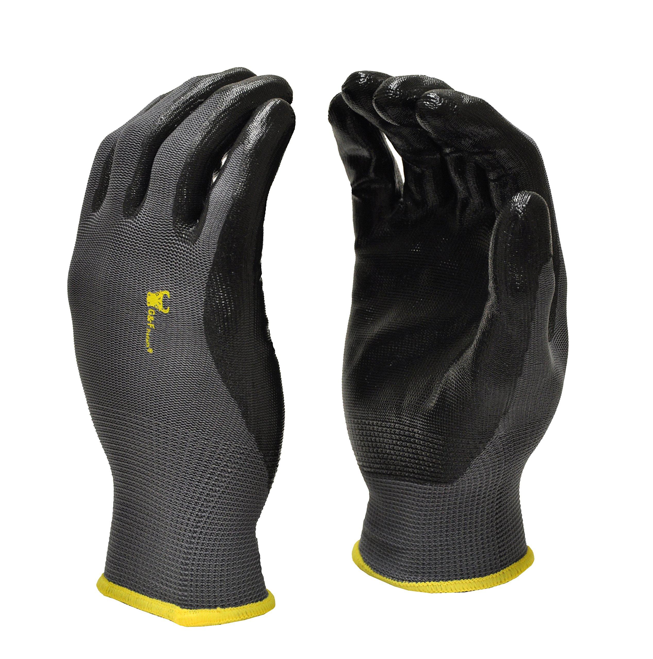 G & F 15196XL Seamless Nylon Knit Nitrile Coated Work Gloves, Garden Gloves, Black, X-Large, 6 Pair Pack