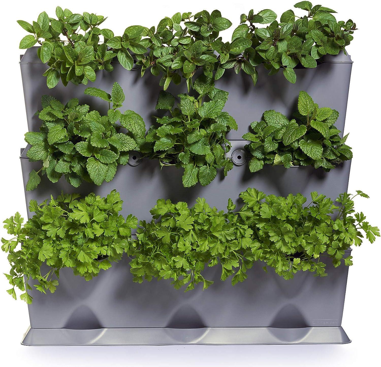 minigarden 1 Juego Vertical para 9 Plantas, Jardín Vertical Modular y Extensible, Colocar en el Suelo o Colgar en la Pared, Mecanismo de Drenaje Innovador, Largo Ciclo de Vida (Gris)