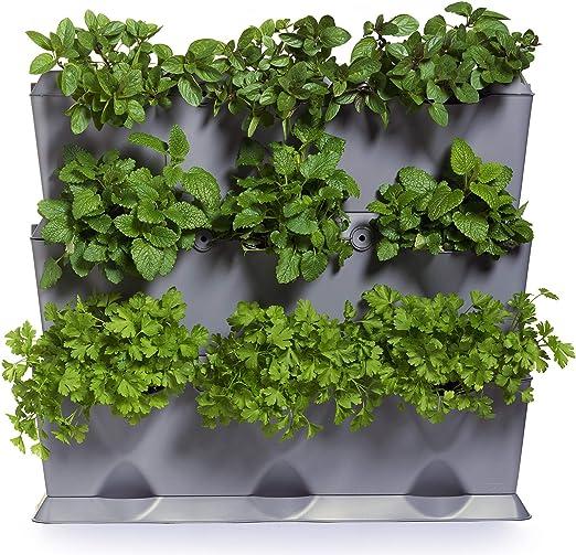 minigarden 1 Juego Vertical para 9 Plantas, Jardín Vertical Modular y Extensible, Colocar en el Suelo o Colgar en la Pared, Mecanismo de Drenaje Innovador, Largo Ciclo de Vida (Gris): Amazon.es: Jardín