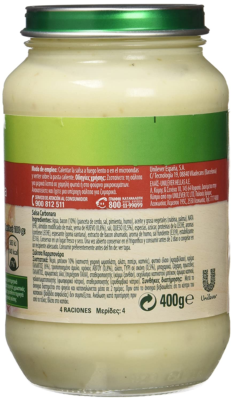 Knorr - Carbonara- Salsa Carbonara - 400 g - [Pack de 6]: Amazon.es: Alimentación y bebidas