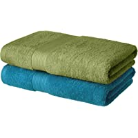 Amazon Brand - Solimo 100% Cotton 2 Piece Bath Towel Set, 500 GSM (Olive Green and Turquoise Blue)