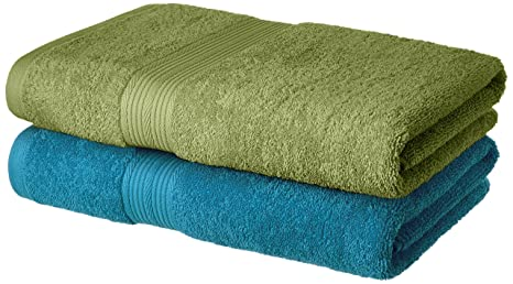 Amazon Brand - Solimo 100% Cotton 2 Piece Bath Towel Set, 500 GSM (Olive  Green and Turquoise Blue) : Amazon.in: Home & Kitchen
