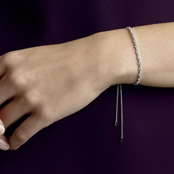eyecatcher different lengths available Soft and sparkling sterling silver bracelet Ansedonia rhodium plated