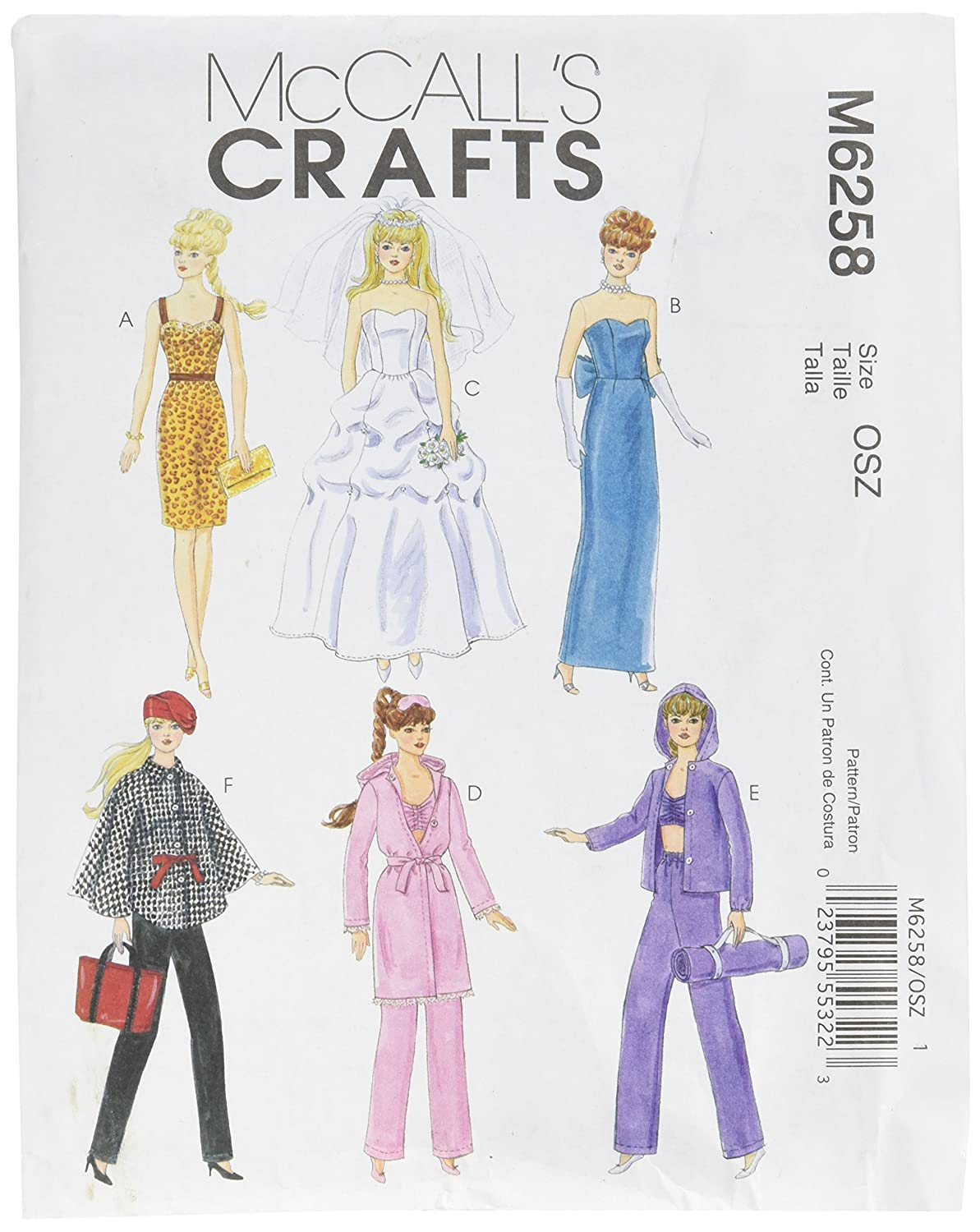 Amazon.com: McCall\'s Patterns M6258 Fashion Clothes For 11-Inch Doll ...