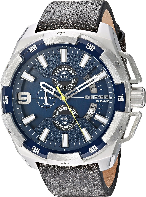 Diesel Men s DZ4418 Heavyweight Stainless Steel Brown Leather Watch