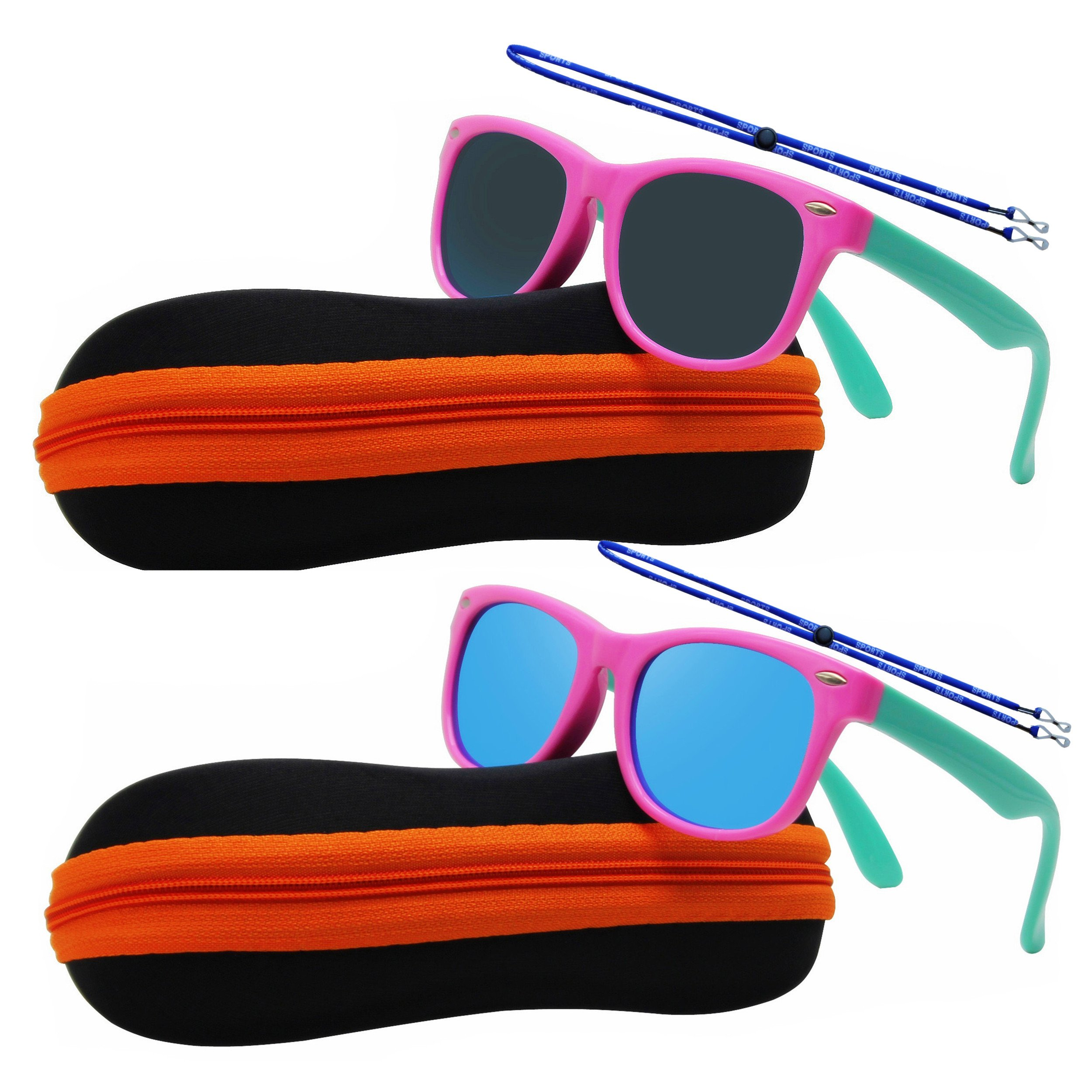 Kids Boys Girls Rubber Flexible Cat Eye Polarized Sunglasses With Case Strap Age 3-10 Years (Classic Pink 2 Packs)