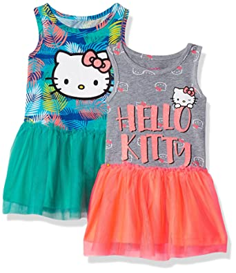 8dd708fdbd96 Amazon.com  Hello Kitty Girls 2 Pack Embellished Dresses  Clothing