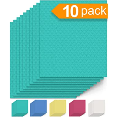 Swedish Dishcloth Cellulose Sponge Cloths - Bulk 10 Pack of Eco-Friendly No Odor Reusable Cleaning Cloths for Kitchen - Absorbent Dish Cloth Hand Towel (10 Dishcloths - Seafoam Green)