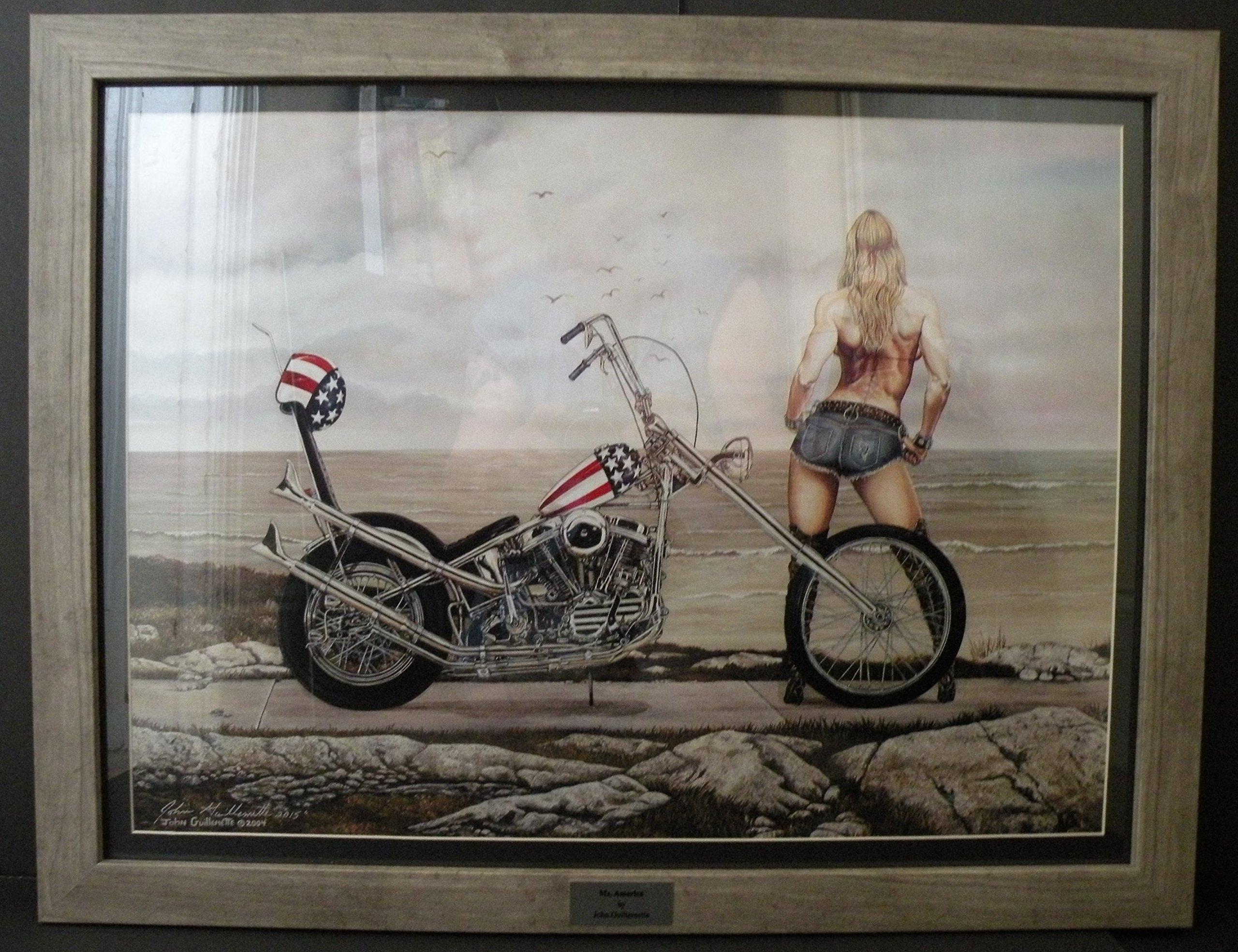 Easy Rider Harley Davidson Chopper Lady Biker Signed Custom Framed Motorcycle Art Print Seascape 18x24 Wall Art - Original Painting by John Guillemette