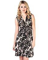 KRISP Womens Fashion Casual Stretch V-Neck Polka Floral Pattern Mini Dress 4-16