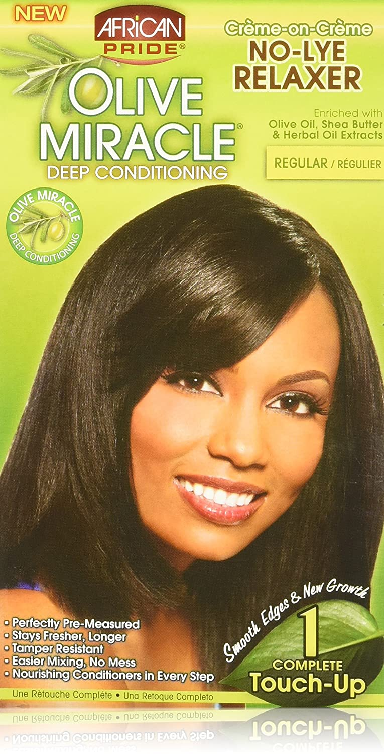 African Pride Olive Miracle Deep Conditioning No-lye Relaxer Kit, Regular