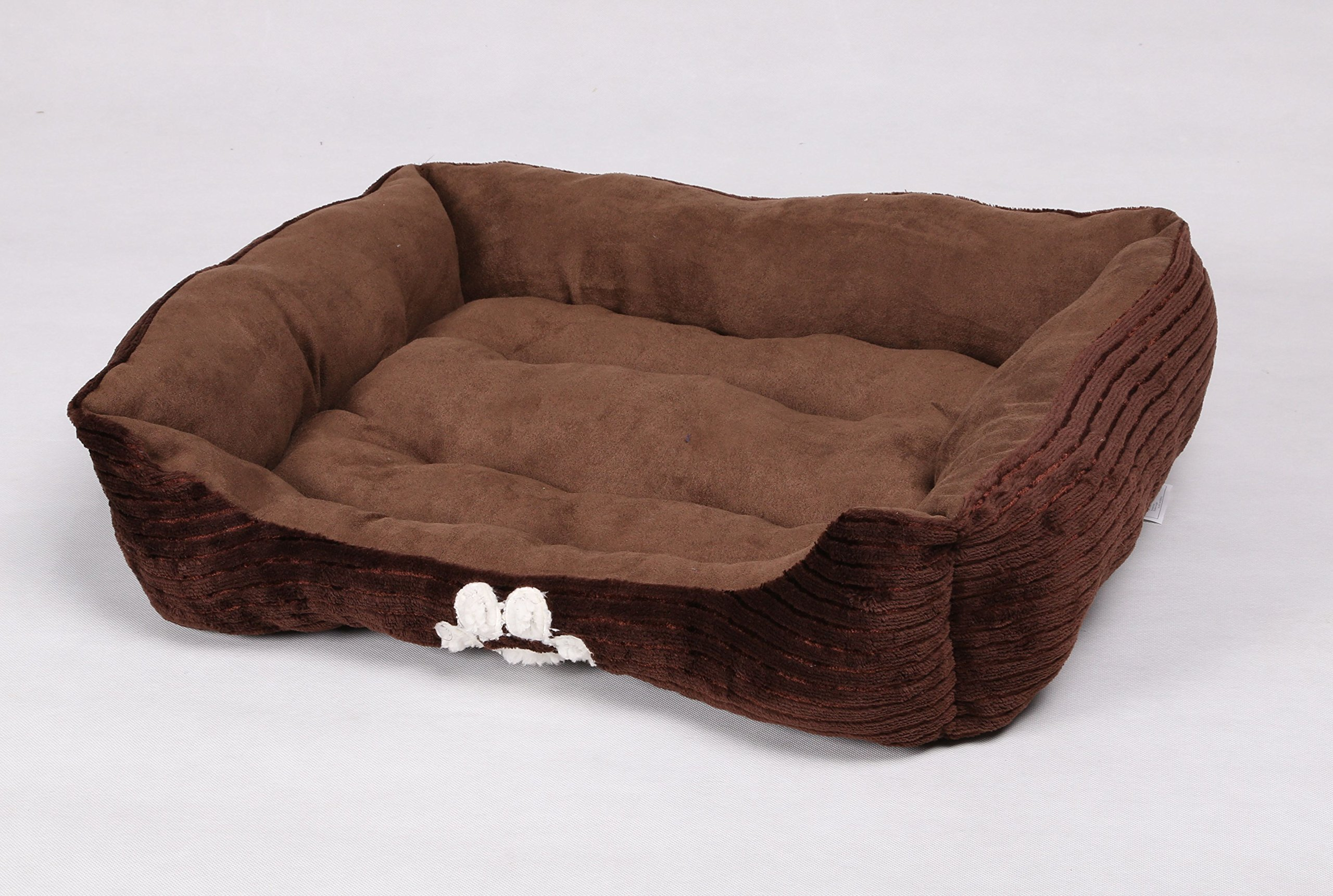long rich HappyCare Textiles Reversible Rectangle Pet Bed with Dog Paw Printing, Coffee