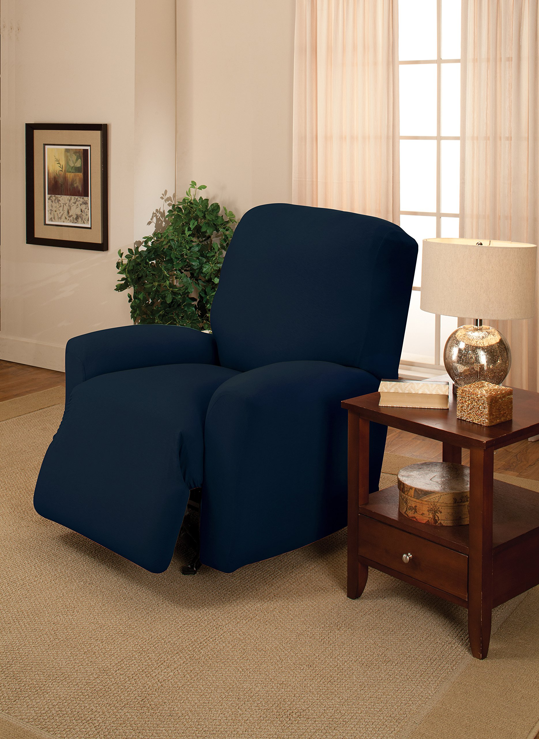 Madison Stretch Jersey Recliner Slipcover, Large, Solid, Navy