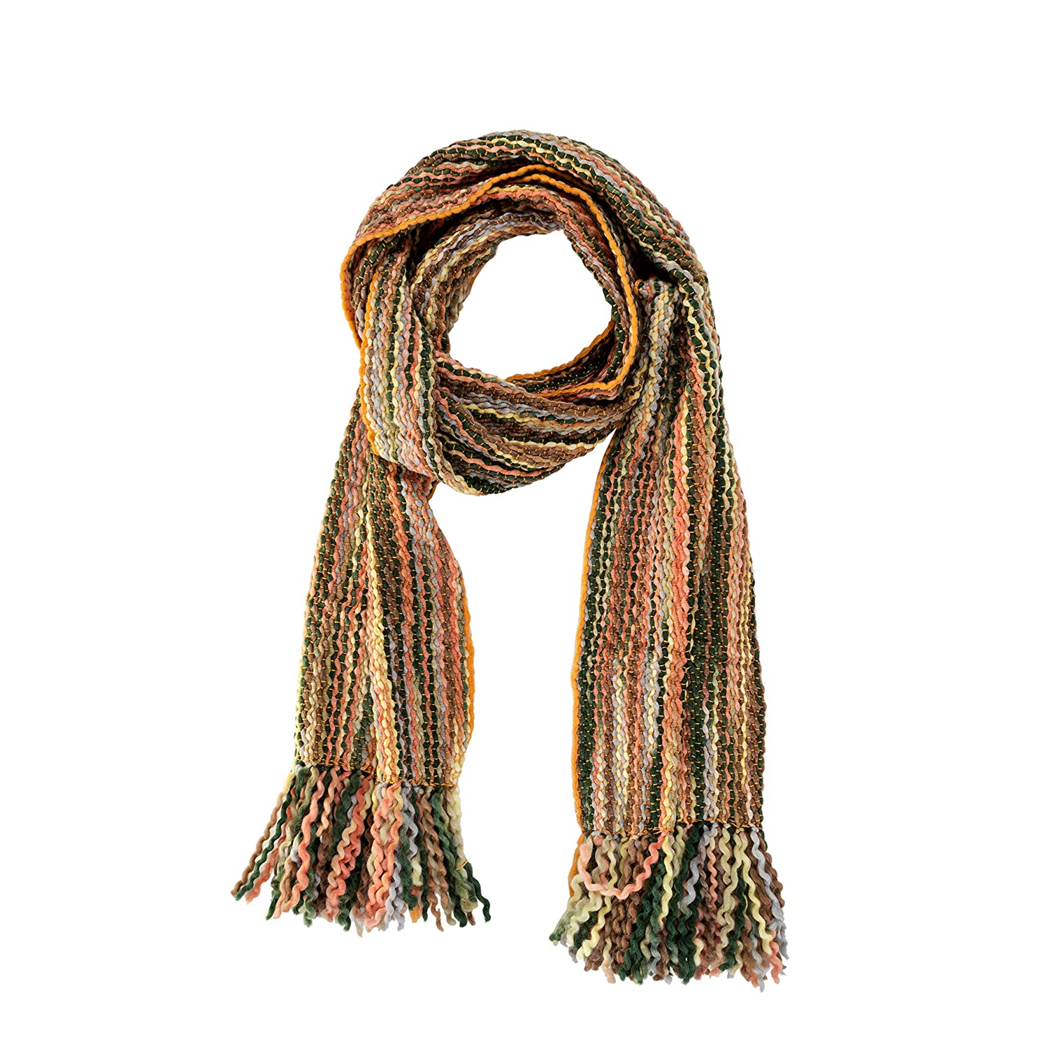 Tumia LAC - Striped Thick, Extra Long Luxurious Scarf - Handmade and Very Warm - Unisex Soft Wool EC5121-BR