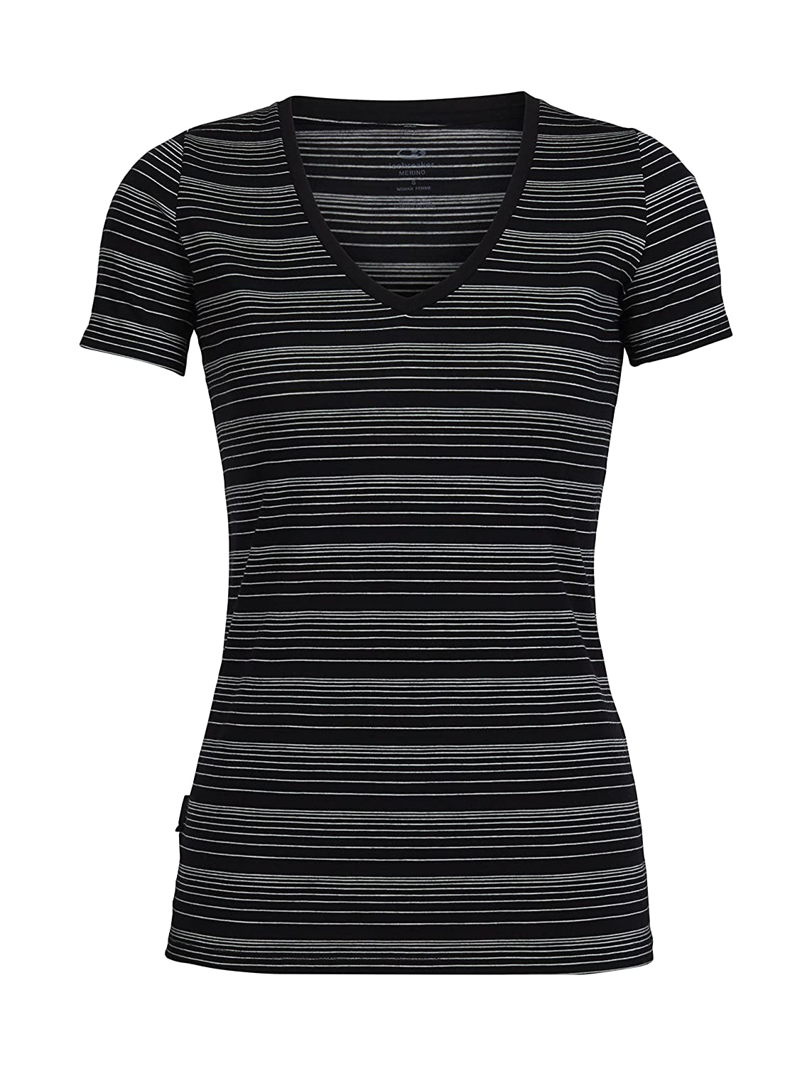 Black Snow Stripe Icebreaker Merino Women's Tech Lite Short Sleeve V Neck