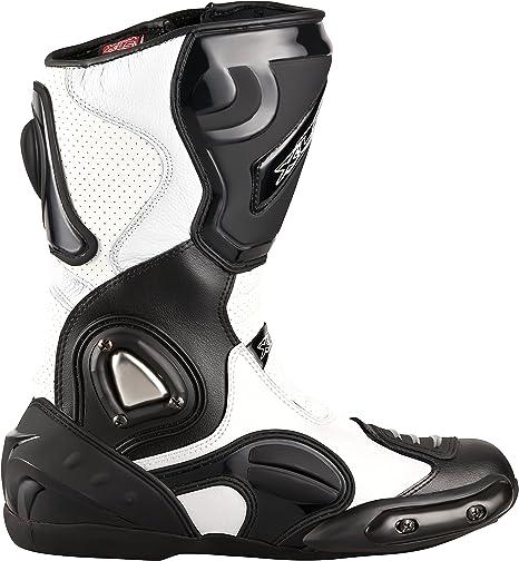 Xls Motorradstiefel Hochwertige Racing Boots Touringstiefel Lederstiefel Schwarz Weiß 40 Auto