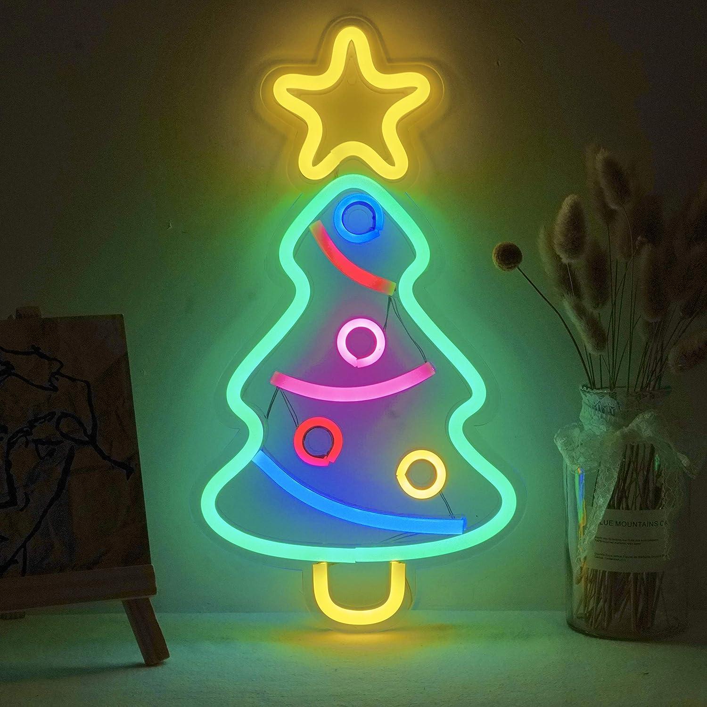 Xmas Tree Neon Light Signs,USB Powered Christmas Festival LED Neon Light Wall Decor Art Neon Sign Light for Kids' Room Birthday Party Light Bar Recreational Wedding Party