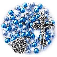 Rosary Beads Catholic - Rosario - Handmade - Blue Rosary - Purple Rosary - Pink Rosary - Imitation Pearl - Free Velvet…