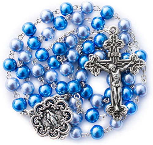 Pearl Blue Bead with Wooden Cross My First Rosary