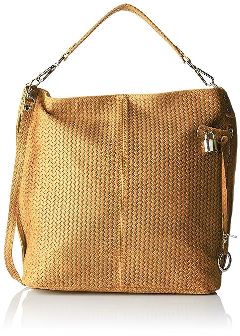 99f1289ef7 Chicca Borse 80051, Borsa a Tracolla Donna, Arancione (Cuoio), 44x45x15 cm