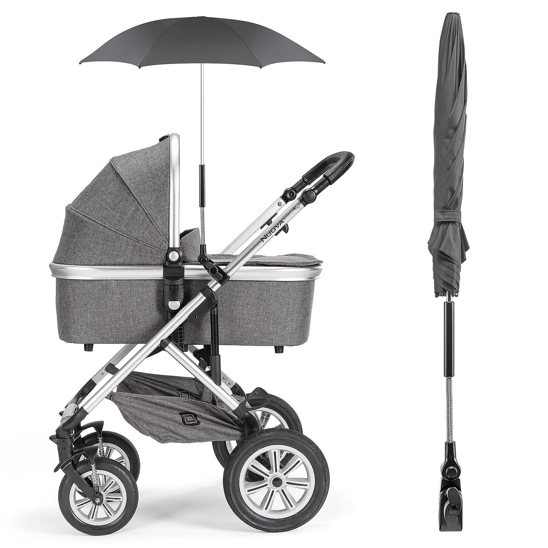 Zamboo - Sombrilla universal Carrito de bebé - Silla de paseo | Parasol flexible con soporte para tubos redondos y ovalados / Protección UV50+, ...