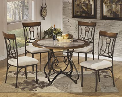 Signature Design By Ashley D314 15B Hopstand Collection Dining Room Table  Base Only, Brown